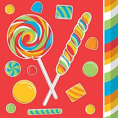 These Sugar Buzz Beverage Napkins show off a sweet design of red, green, blue, blue and yellow lollipops and candies.