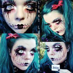 Creepy but sooo cool Halloween makeup Costume Halloween, Creepy Halloween Makeup, Looks Halloween, Fete Halloween, Holidays Halloween, Creepy Doll Makeup, Adult Halloween, Rag Doll Makeup, Scary Doll Costume