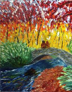 Fall colors oil painting using palette knife only.
