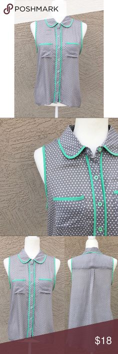"""CHLOE K Polka Dot Peter Pan Collar Button Down Gray & white polka dot button down with slightly darker than mint green trim. I did my best to get the color as accurate as possible. High-low hem. Pit to Pit: 20"""", Length: 22.5-28"""". ✨OFFERS WELCOME✨ Chloe K Tops Button Down Shirts"""