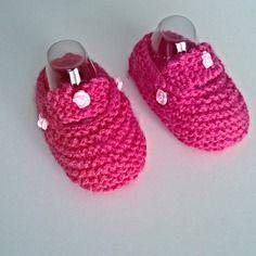 Ballerines bébé 3/6 mois rose fushia fille en laine tricotée