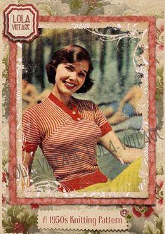 01259ec02886c Vintage 1950s Knitting Pattern Lady s Candy Stripes Jumper Top Rockabilly  Pin Up
