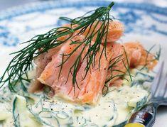 Varmrøget laks med agurk i ravigottecreme | SPIS BEDRE Fish Dishes, Appetisers, Fish And Seafood, Lchf, Starters, Tapas, Nom Nom, Curry, Brunch