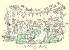 Wenskaart met tekst: Wedding party. Geleverd incl. envelop. Ontwerp: Anita Jeram.