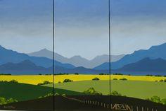 Graphic Landscape Triptych, painted by Hannes Scholtz