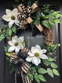 Oh how this lovely magnolia front door wreath will be the envy of friends and neighbors.