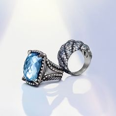 Statement rings with gemstones and diamonds.