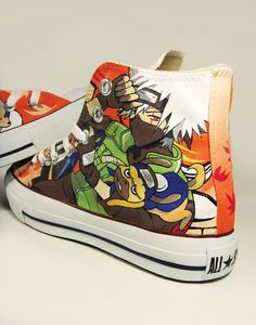Fanart Kakashi from Naruto , custom converse shoes , painted shoes WANT! Though I'd never wear them.
