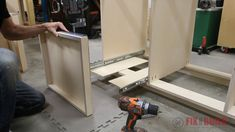 installing pull out trays on a base cabinet Diy Projects Kitchen Cabinets, Building Kitchen Cabinets, Kitchen Base Cabinets, Shop Cabinets, Garage Cabinets, Built In Cabinets, Kitchen Cabinet Design, Diy Cabinets, Ikea Kitchen