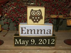 Personalized Baby Girls Kids Names Owl Themed Primitive Block Sign Distressed Nursery Decor. $21.99, via Etsy.