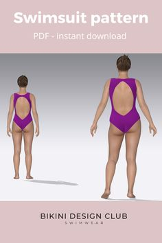 This amazing Swimsuit comes with 2 front options: V neckline or Halter. You choose. Download it in PDF and watch our youtube tutorial to learn how to sew Tanya. Sizes 2 to 24. Swimsuits, Bikinis, Swimwear, Swimsuit Pattern, Learn To Sew, Neckline, Pdf, Patterns, Watch