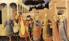 O casamento da Virgem, têmpera por Fra Angelico (1395-1455, Italy)