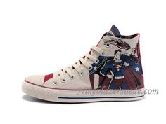 Converse High Superman Shoes White Blue Red $95