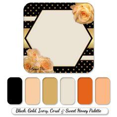 Schwarz, Gold, Korallen und Elfenbein Hochzeitslinie mit modernen bemalte Rosen - Farbpalette