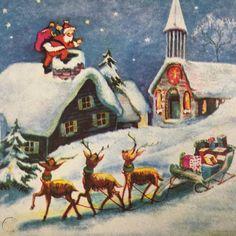 Vintage Early Mid Century Christmas Greeting Card Santa Claus On Roof Reindeer Vintage Greeting Cards, Vintage Christmas Cards, Christmas Greeting Cards, Christmas Greetings, Christmas Scenes, Christmas Paintings, Old Postcards, Vintage Prints, Reindeer