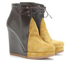 Osaka two-tone wedge ankle boots, Jil Sander