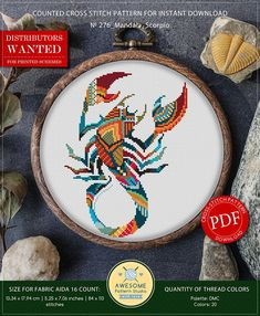 This is modern cross-stitch pattern of Mandala Scorpio for instant download. You will get 7-pages PDF file, which includes: - main picture for your reference; - colorful scheme for cross-stitch; - list of DMC thread colors (instruction and key section); - list of calculated