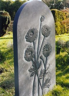 Relief Carved Poppies on slate Grave Headstones, Grave Monuments, Memorial Stones, Gerber Daisies, Concrete Art, 3d Studio, Memento Mori, Stone Carving, Cemetery