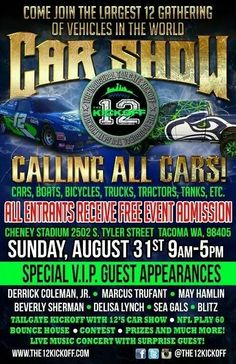 12's Car Show to be held in Tacoma at the end of August. Can't wait to see what shows up!