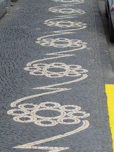 """calcadas"" = the typical Portuguese cobblestone pavement in Horta, Faial, Açores"