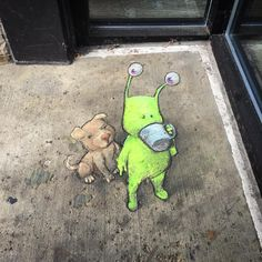 David Zinn - Sluggo New Work もっと見る 3d Street Art, Street Art Graffiti, Street Artists, Graffiti Artists, David Zinn, Pablo Picasso, Banksy, Coffee Hound, Chalk Pictures