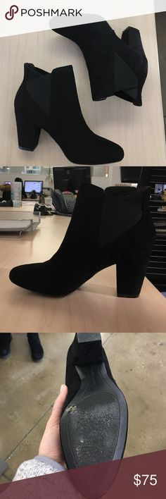 🆕 Dolan boot Fashionable booties with cork inserted sole. Self covered heel, 3 inches. Microsuede, elastic upper. Almond shaped toe. Slip on style. Never worn new in box. Fit true to size. BCBGeneration Shoes Ankle Boots & Booties