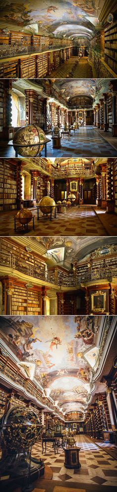 The Klementinum library, a beautiful example of Baroque architecture, was first opened in 1722 as part of the Jesuit university, and houses over 20,000 books. It was voted as one of the most beautiful and majestic libraries in the world.