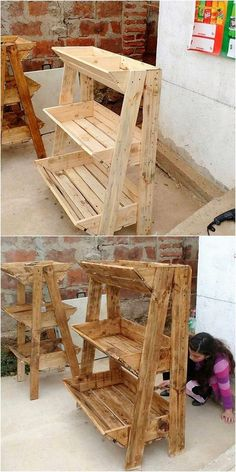 Why do you have to spend so much of the money in buying expensive planter boxes when wood pallet is providing you the same stuff designing in elegant forms? Wooden Pallet Projects, Pallet Crafts, Diy Pallet Furniture, Wood Crafts, Recycled Crafts, Pallet Diy Decor, Simple Wood Projects, Outdoor Wood Projects, Lawn Furniture