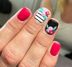 Nail art is a very popular trend these days and every woman you meet seems to have beautiful nails. It used to be that women would just go get a manicure or pedicure to get their nails trimmed and shaped with just a few coats of plain nail polish. Spring Nail Art, Nail Designs Spring, Cute Nail Designs, Spring Makeup, Nail Designs Floral, Stripe Nail Designs, Nail Art Flowers Designs, Cute Spring Nails, Nail Art Stripes