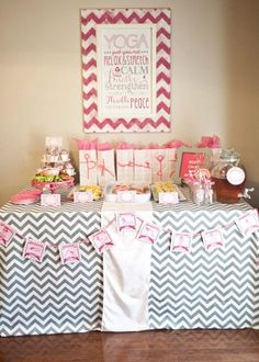 Yoga themed birthday party via Kara's Party Ideas karaspartyideas.com #yoga #party #birthday #ideas #girl #mother #daughter