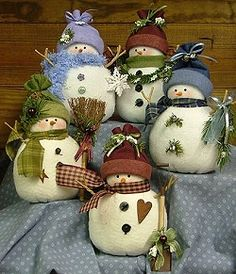 Odds 'n' Ends Snowmen - Wool Felt, Felt Appliqué Countryside Craft PATTERN