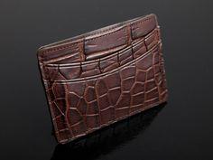 Alligator Card Case - Brown