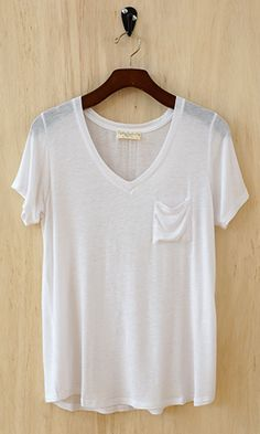 Perfectly Imperfect One-Pocket Shabby Tee, Ivory - Conversation Pieces