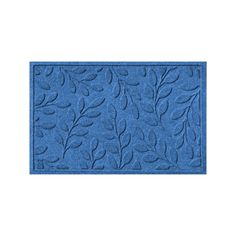 WaterGuard Brittany Leaf Indoor Outdoor Mat, Med Blue