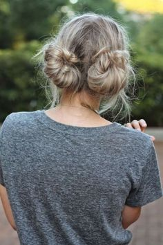 15 Ways To Rock The Double Bun Hairstyle - Society19 No Heat Hairstyles, Bun Hairstyles For Long Hair, Bohemian Hairstyles, Casual Hairstyles, Hair Updo, Beach Hairstyles, Wedding Hairstyles, Hairstyle Ideas, Grunge Hairstyles