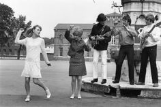 Judy Geeson and Lulu setting the scene for the party in To Sir With Love, with The Mindbenders, on location at Victoria Barracks, Windsor.