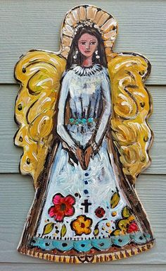 Folk Art Angel Recycled Wood  Picasso Large by recycledwoodart, $145.00