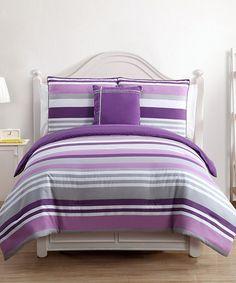 Look at this #zulilyfind! Lavender & Gray Finn Comforter Set #zulilyfinds