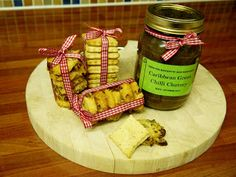 Too Many Cook Books....  Carribean Chutney, Poppy Seed Crakers & Cheese & Rosemary Sables
