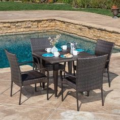 Shop for Outdoor Delani 5-piece Wicker Dining Set by Christopher Knight Home. Get free delivery at Overstock.com - Your Online Garden