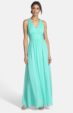 Eliza J Halter Chiffon Gown available at #Nordstrom- Have it in coral, too....bridesmaid option? Great price!