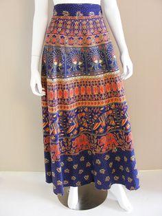Vintage India Cotton Peacock Print Maxi Wrap Skirt by atlasfalcon