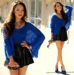 Fuzzy Blue Sweater, Picadilly Necklace, Nollie Faux Leather Skirt, Aspen Bracelet, Blue Suede Heels