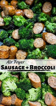 BROCCOLI and SAUSAGE in AIR FRYER + Tasty Air Fryer Recipes For an air fried dinner recipe idea, make Broccoli and Sausage in Air Fryer. This low carb, Keto friendly air fryer meal is ready in 15 minutes! New Air Fryer Recipes, Air Fryer Dinner Recipes, Easy Dinner Recipes, Easy Dinners, Healthy Dinners, Healthy Foods, Easy Recipes, Dinner Ideas, Flank Steak Recipes