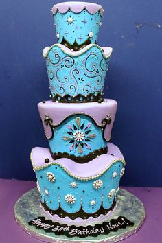 Baby Blue and Lavender Cake