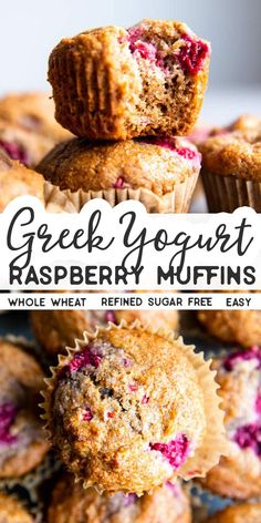 Recipes Snacks Muffins Whip up a batch of these Greek Yogurt Raspberry Muffins for easy breakfasts and school lunch boxes! They are sweetened with honey and made with whole wheat flour for an extra healthy kick. Healthy Breakfast Muffins, Healthy Muffin Recipes, Healthy Cake, Raspberry Recipes Healthy, Recipes With Greek Yogurt, Greek Yogurt Recipes Breakfast, Healthy Snacks, Raspberry Oatmeal Muffins, Lemon Blueberry Muffins