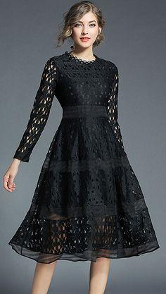 Elegant O-Neck Long Sleeve Hollow Out Skater Dress