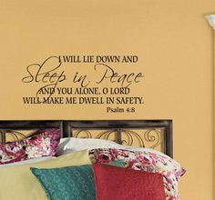 Psalm 4:8,Bedroom wall decal, Bible verse decal, Marriage wall decal, Home quote decal on Etsy, $18.99