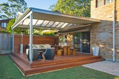 pergola-deck with pull down side shades