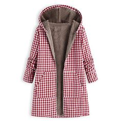 Thick Plaid Print Hooded Long Sleeve Casual Coat is hot sale on Newchic,here women Coats & Jackets with unbelievable discounts. Winter Jackets Women, Coats For Women, Fur Lined Hoodie, Mode Mantel, Poncho, Hooded Cardigan, Womens Parka, Outerwear Women, Outfits